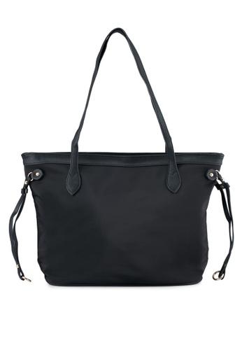 NUVEAU black Pu-Trimmed Nylon Tote Bag NU245AC0SYAGMY_1