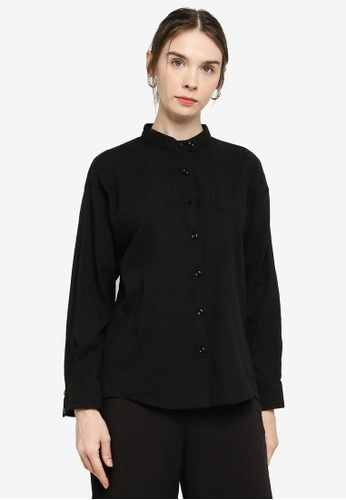 ZALIA BASICS black Mandarin Collar Shirt FF1DCAAF6E4D81GS_1