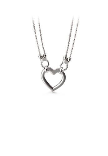 Glamorousky silver Simple and Fashion Hollow Heart-shaped 316L Stainless Steel Pendant with Necklace 4194EAC038C288GS_1