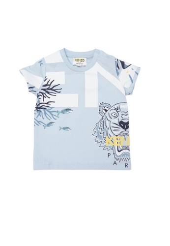 KENZO KIDS blue KENZO TIGER BABY BOYS T-SHIRT 841CEKAFA108E3GS_1