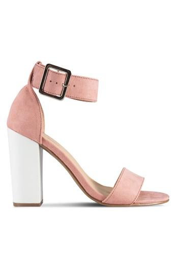 Open Toe Contrast Block Heels