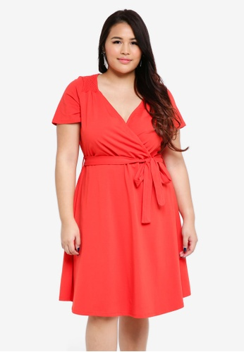 Dorothy Perkins red Plus Size Red Wrap Midi Dress 2F5F0AA443DAD6GS_1