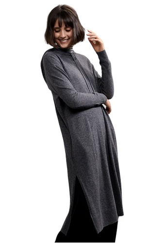 22 Factor grey North Hooded Yak Cashmere-blend Dress EDA2DAA0DFB8F4GS_1