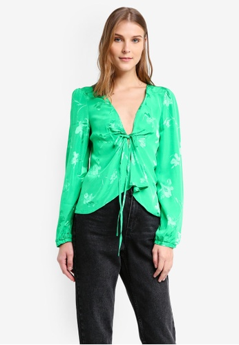 TOPSHOP green Jacquard Bed Blouse TO412AA0T0VTMY_1
