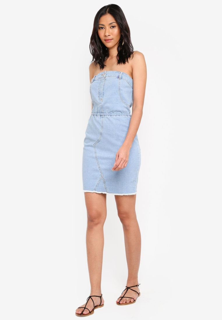 Dress Deconstructured Blue Stretch Strapless MISSGUIDED 45wzaq