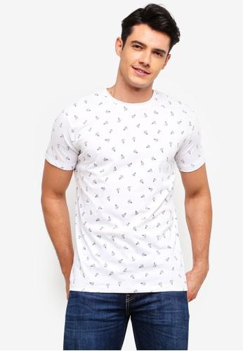 MANGO Man 白色 休閒印花T恤 1F7F5AA735E68FGS_1