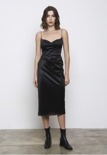Bridesy black and n/a Slit Black Midi Party Dress 6A572AA86AF8B2GS_1