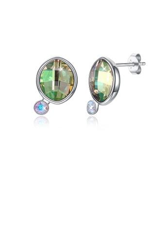 Glamorousky green 925 Sterling Silver Fashion Elegant Green Austrian Element Crystal Geometric Stud Earrings B2FEBAC78067E6GS_1