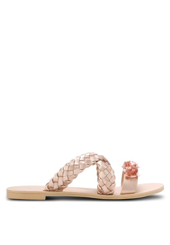 ZALORA gold Weaved Sliders with Embellishment 14A18SH2131BFCGS_1