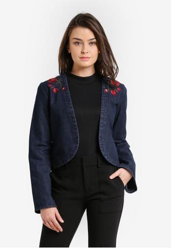 Zalia blue and navy Embroidered Flare Sleeve Jacket C2E01ZZ7A0932CGS_1