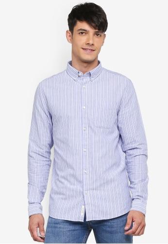 River Island blue Long Sleeve Oxford Shirt E7CABAA5E4A084GS_1