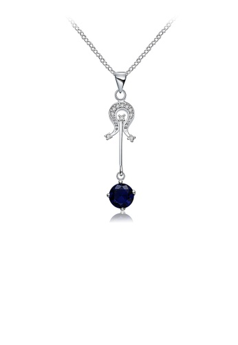 Glamorousky blue Fashion Violin Pendant with Blue Austrian Element Crystal and Necklace 8F1D3AC0898221GS_1