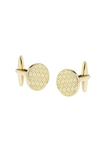 Buckle gold Round Gold Herringbone Cufflinks E3E8DACE99DB27GS_1