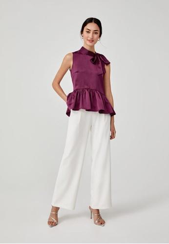 Love, Bonito purple Alsie Satin Relaxed Peplum Top 87FC0AAE96A5B5GS_1