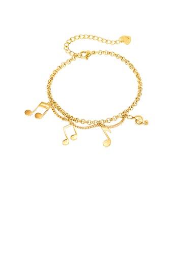 Glamorousky 銀色 時尚創意鍍金色音符316L鋼手鏈 23606AC86D7CD4GS_1