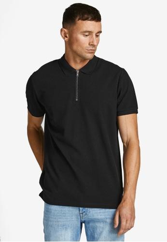Jack & Jones black Structure Polo Shirt A98DCAA9779D33GS_1