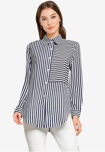 ZALORA WORK multi Stripes Blocked Shirt 51CABAAE7D0860GS_1