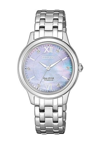CITIZEN silver Citizen Eco-Drive Mother of Pearl and Silver Titanium Watch ED6DBACA52B89DGS_1