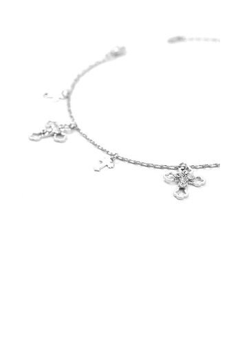 Glamorousky silver Elegant Cross on Anklet with Silver Austrian Element Crystals 2FEF7AC0444186GS_1