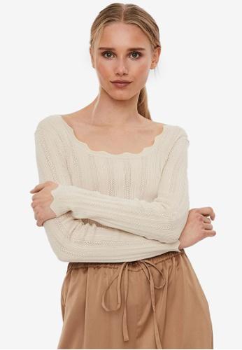 Vero Moda beige Khaiya Long Sleeve Square-Neck Blouse 7B713AA17F4CC5GS_1
