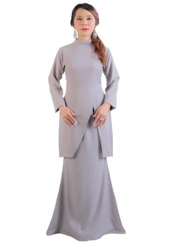 SARIMA grey Kurung Modern Muslimah Fashion Light Grey E674DAA860F92EGS_1