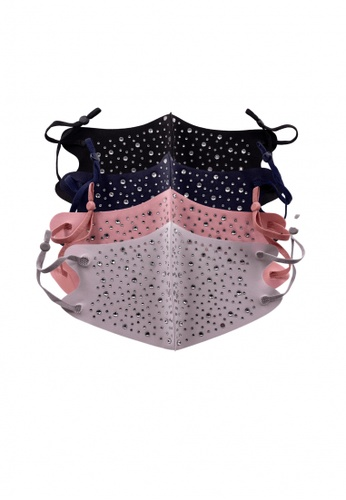 Her Jewellery black and grey and pink and navy Ice Silk Cotton Adult Mask with Crystals (Bundle of 4) 20C41ES95F0164GS_1