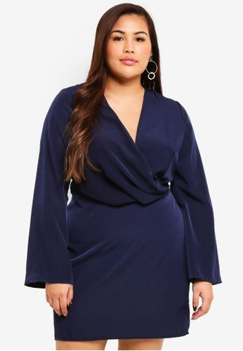 MISSGUIDED navy Plus Size Drape Front Plunge Mini Dress D583BAAAA7CB49GS_1