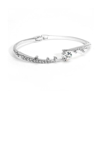 Glamorousky silver Elegant Bangle with Silver Austrian Element Crystals and CZ BCCEFACB6AD841GS_1