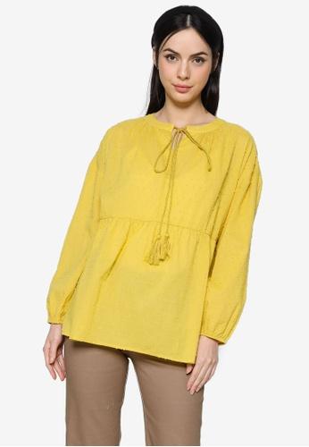 ZALIA BASICS yellow Tassel Tie Front Blouse 9DA76AA31DD178GS_1