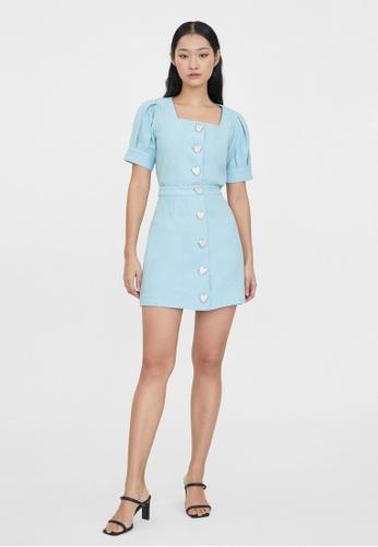 Pomelo blue High Waist Heart Buttoned Skirt - Baby Blue 0B92AAA884D7C9GS_1