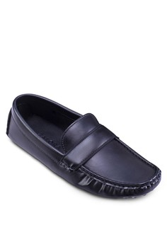 Faux Leather Front Strap Loafers