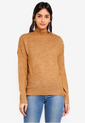 Vero Moda brown Lagoura Pearl Highneck Sweater 5CD2BAADE6088EGS_1