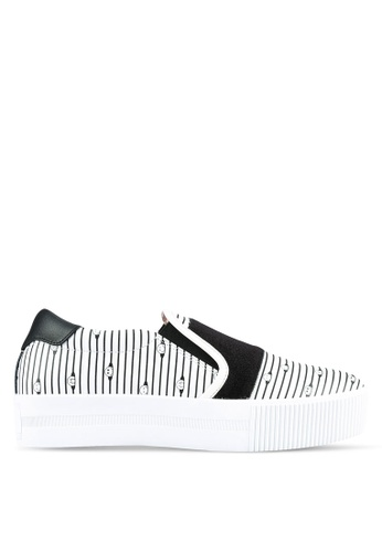 House of Avenues white Smiley World Slip Ons With Velcro Patches HO685SH0RRALMY_1