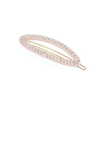 Glamorousky pink Simple and Fashion Light Pink Hollow Geometric Hair Clip with Cubic Zirconia 7AA6DAC9AAA18FGS_1