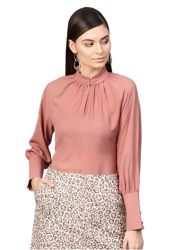 SASSAFRAS pink Baked Pink Pleated Collar Top 6E801AA97C7EC2GS_1