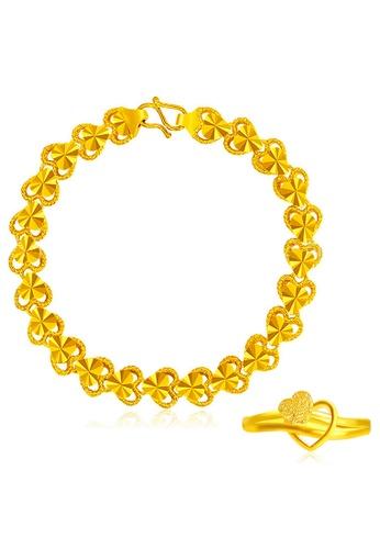 YOUNIQ gold YOUNIQ Premium Cupid Heart 24K Plated Bangle & Ring Set(Gold) 67549ACADB745AGS_1