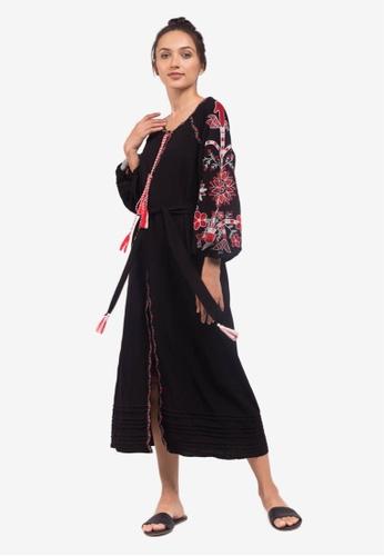Caoros black Embroidered Caftan Cape Dress A2D2FAAA02A683GS_1