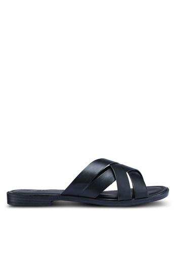 Anacapri 黑色 編織繞帶涼鞋 E90ABSHEC711ABGS_1