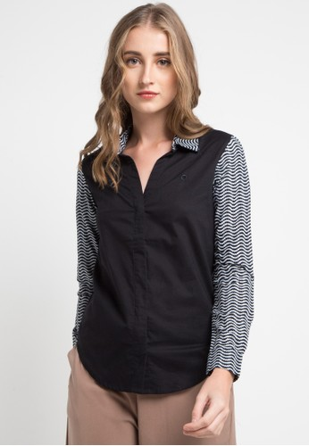 POP U black Manggaran Long Sleeve Shirt 5A653AAEFF5868GS_1