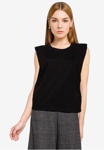 UniqTee black Pleated Sleeveless Top 5525CAA568F90FGS_1