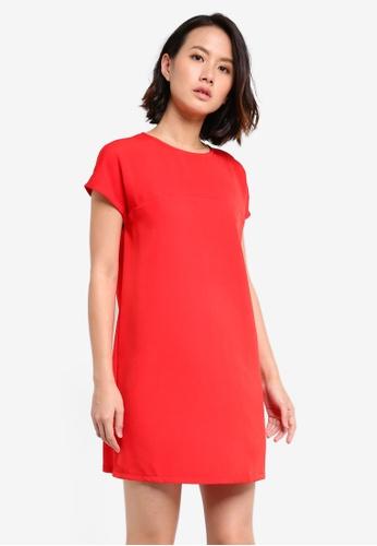 ZALORA BASICS red Essential Short Sleeve Dress E8646AAA12FBAAGS_1