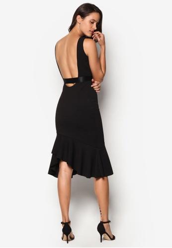 goddiva open back frill midi evening dress black