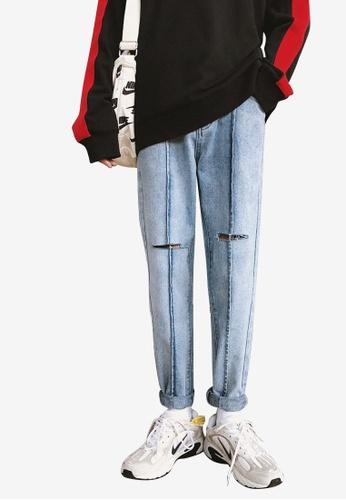 hk-ehunter blue Men Rips Jeans 011EEAA960F629GS_1