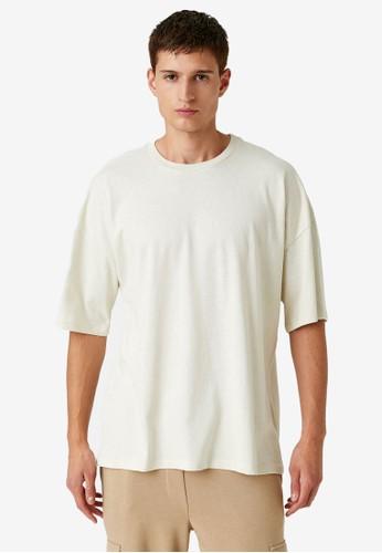 KOTON beige Basic Oversized T-Shirt D13CEAA2F62352GS_1