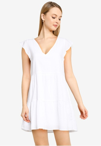 ABERCROMBIE & FITCH white Ruffle Trapeze Short Dress 71397AAB2212A4GS_1