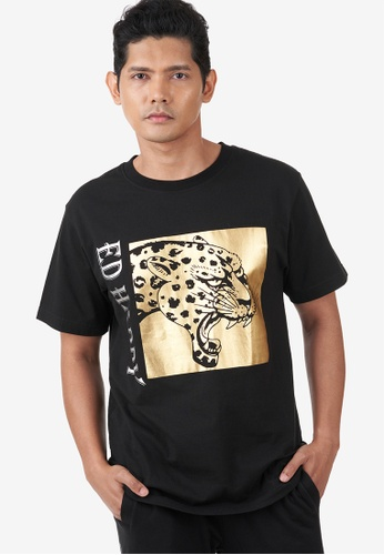 "Ed Hardy black Ed Hardy Men ""Leopard""  Round Neck Tee with Gold Foil Print 9F8FDAA149FEC9GS_1"