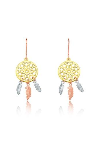 CHOW TAI FOOK Jewellery yellow and gold CHOW TAI FOOK 18K 750 Rose White Yellow Gold Earrings - Dream Catcher Karat Gold E124125 EEEE8AC696D0ACGS_1