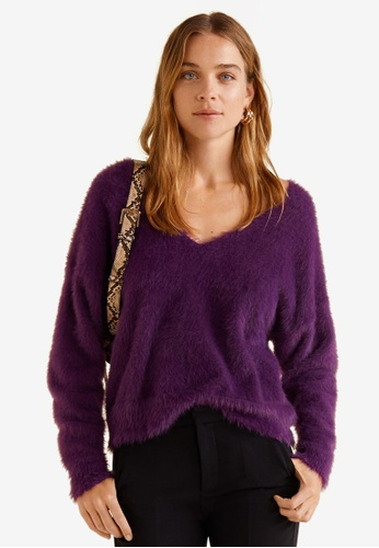 Mango purple Faux Fur Knit Sweater 333E0AA568B555GS_1