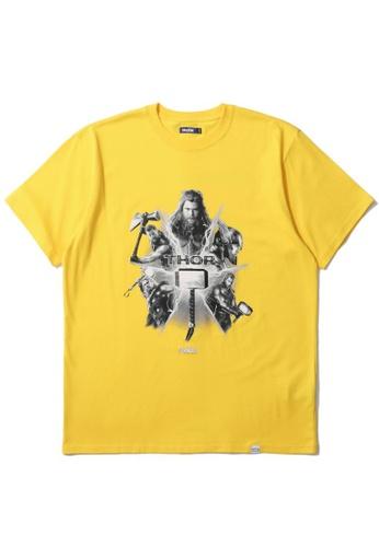 BLOCKAIT yellow X Marvel Thor graphic tee 491CFAADE8CF8EGS_1