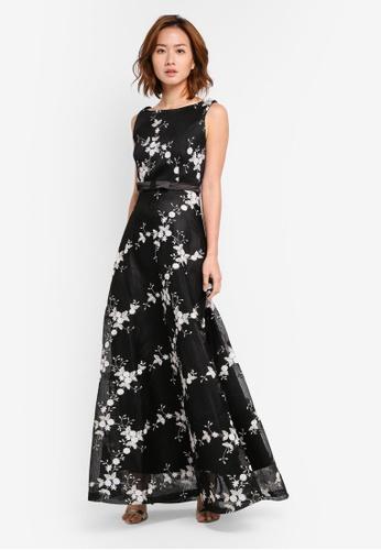 Megane black Eleta Embroidery Netting Dress ME617AA0SZWJMY_1